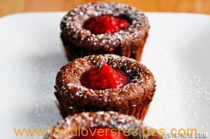 LAVA CAKES WITH RED RASPBERRY SAUCE