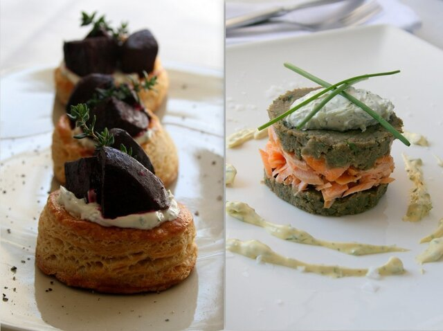 Caramelised Beetroot Tartlets with Salmon Trout and Lentil Stacks