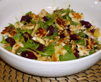Halloumi, Roasted Thyme Beetroot and Rocket with a Lemon and Thyme dressing Recipe