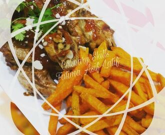 Peri peri roast chicken and sweet potato fries