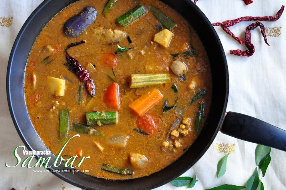 Varutharacha Sambar – South Indian Vegetable and Lentil Potage