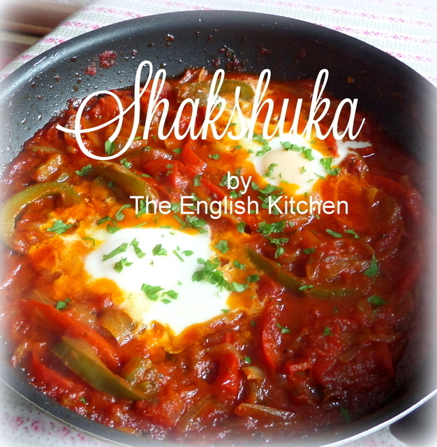 Shakshuka  (Pan Roasted Eggs in a Pepper, Onion and Tomato Sauce)
