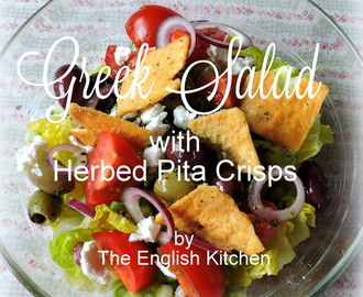 Greek Salad with Herbed Pita Bread Crisps