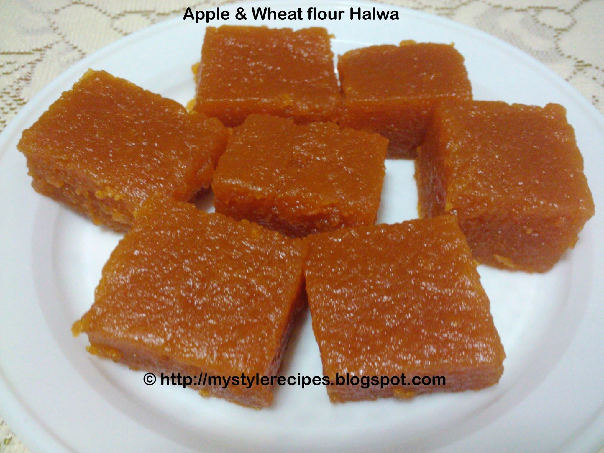 Apple and Wheat flour Halwa/Indian Sweet