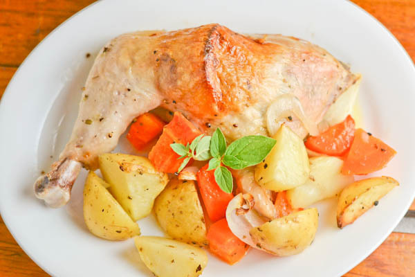 Greek Style Roasted Chicken with Potatoes and Carrots