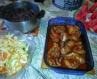 Belizean BBQ Chicken, Black Beans & Rice, & Belizean Coleslaw