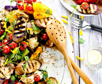 Grilled Vegetable Salad with Giant Hot Croutons