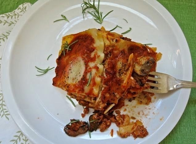 Sausage and Mushroom Lasagna with Fresh Ricotta