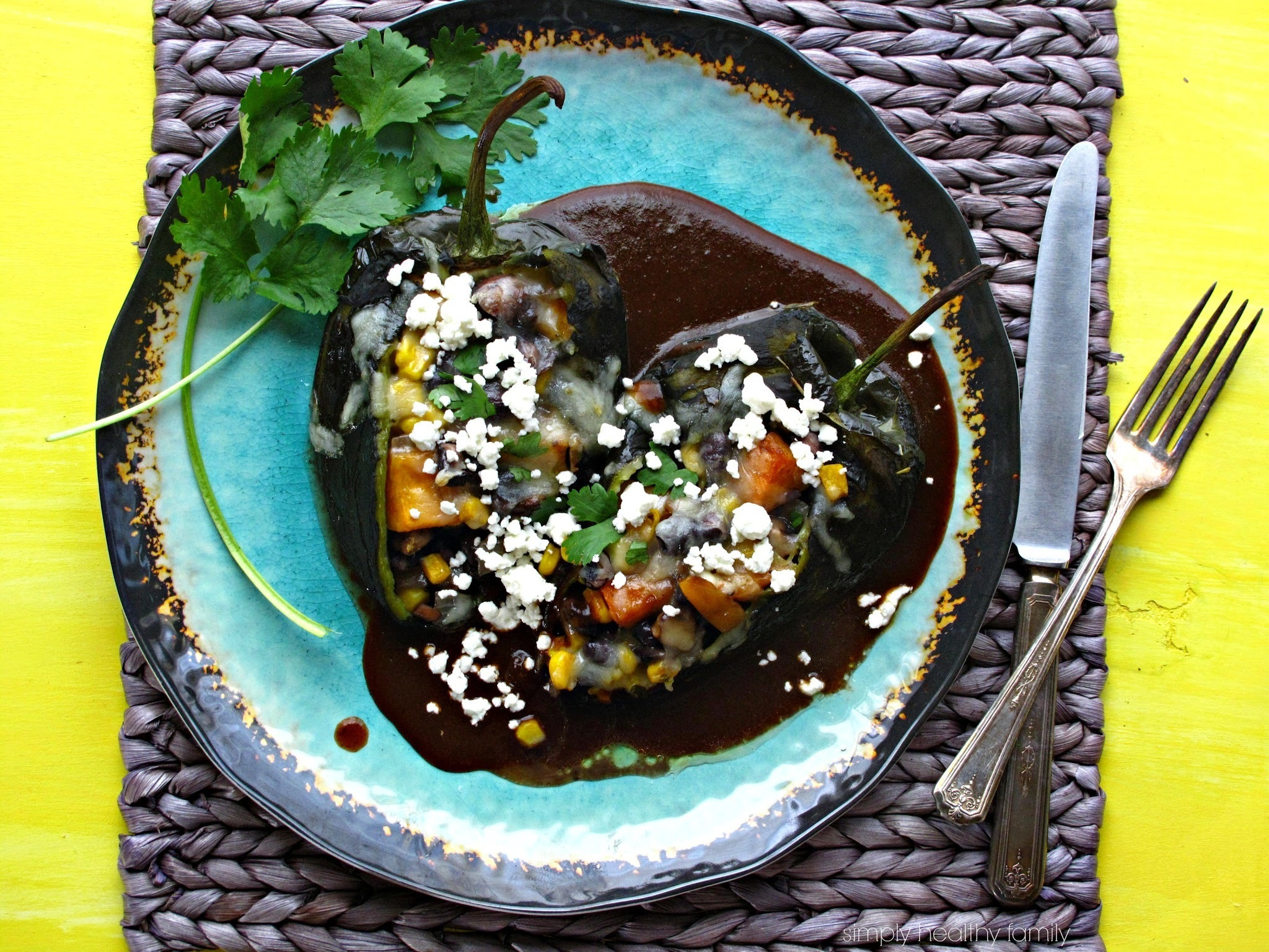 Black Bean, Butternut Squash & Millet Stuffed Poblano Peppers with Ancho-Guajillo Chile Sauce #SundaySupper