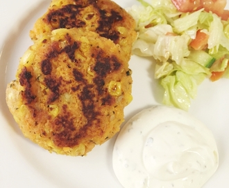Sweet potato & corn patties w garlic sauce