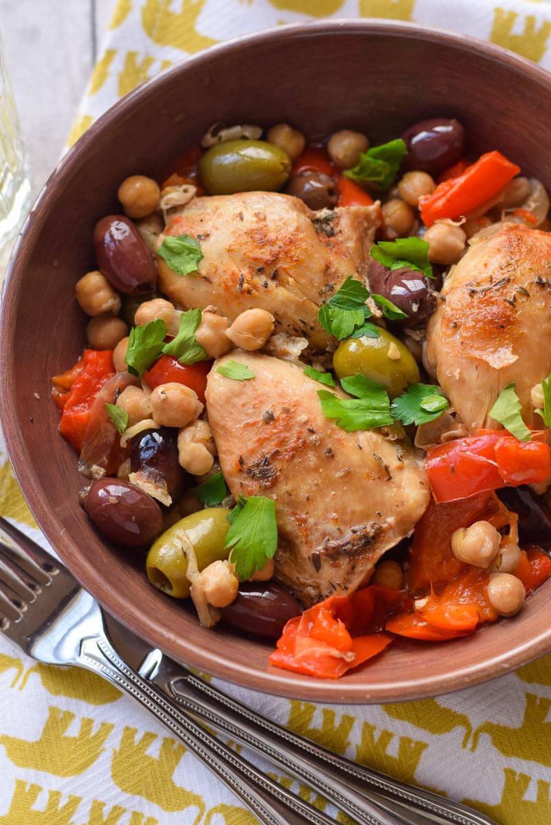 Slow Cooker Chicken with Olives and PeppersJump to Recipe