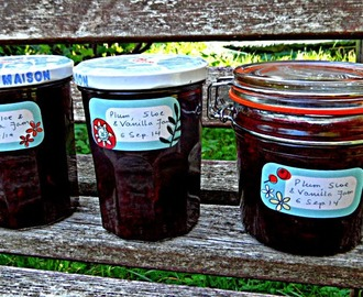 Plum, sloe and vanilla jam