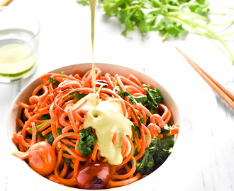 Sweet Potato Noodles with Sriracha Cilantro Cashew 'Cream' Sauce