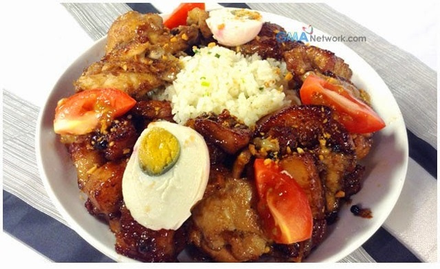 Garlic Fried Rice with Twice Cooked Chicken and Pork Adobo