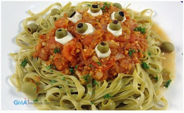 Green Pasta in Red Sauce with Kesong Puti