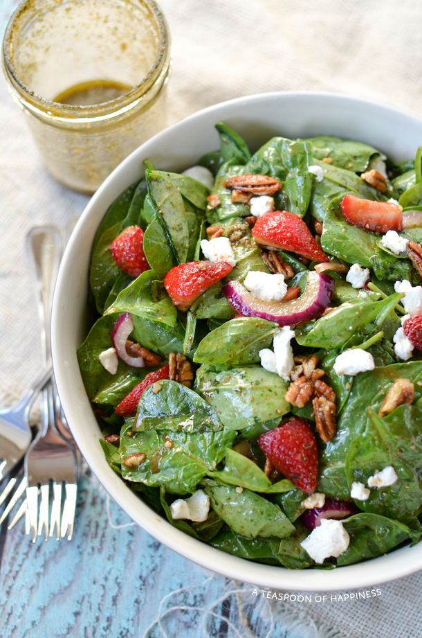 Strawberry Spinach Salad with Goat Cheese, Pecans and Pesto Balsamic Vinaigrette