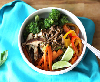 Asian Noodle Bowl with Basil Soy Dressing {Vegan}