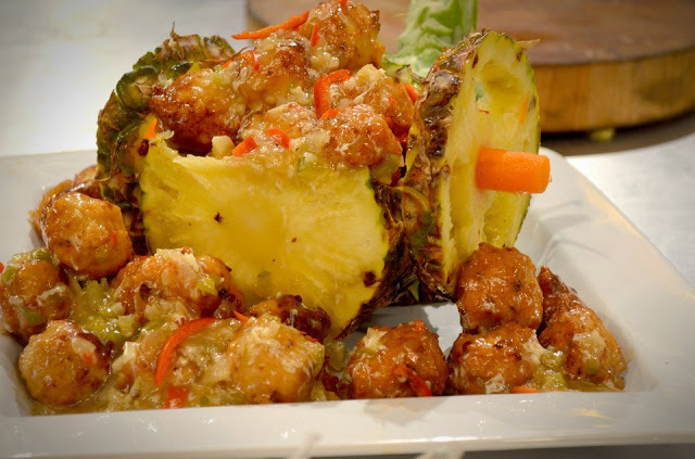 Chicken Balls in Pineapple Cart Recipe