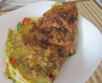 Okra & Red Bell Pepper Omelette