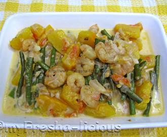 Shrimp, Squash, and Long Beans in Coconut Milk
