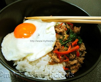 Japanese Inspired Breakfast : Chicken-Veggie Saute & Egg Over Rice