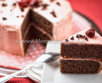 Chocolate Strawberry Cake with Butter Frosting