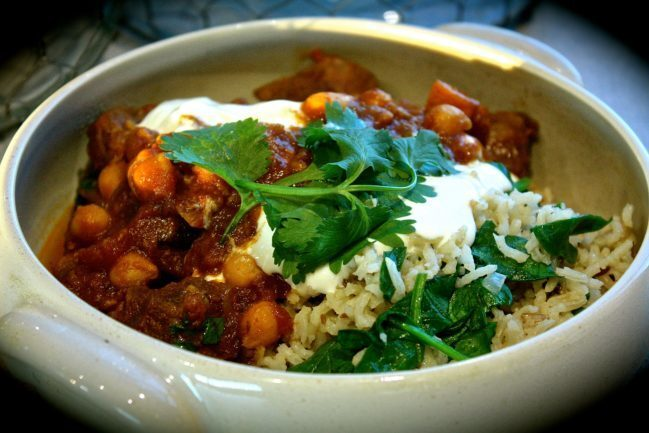 Slow Cooked Beef, Pumpkin & Chickpea Curry with Spinach & Brown Rice Pilaf