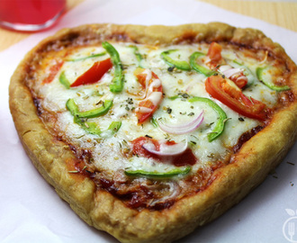 Homemade Heart Shaped Pizza | Valentine Dinner Recipe