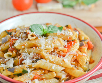 Penne with Eggplant, Tomato & Basil