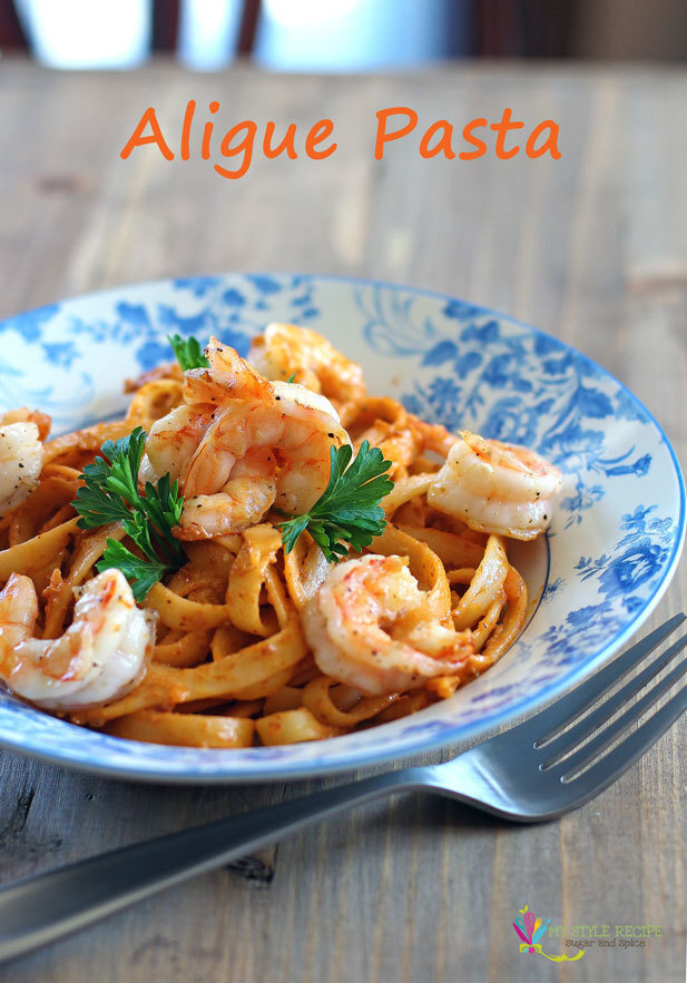 Crab Roe Fettuccine with Grilled Shrimp (Aligue Pasta)