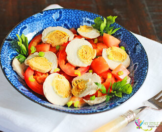 Salted Duck Egg and Tomato Salad