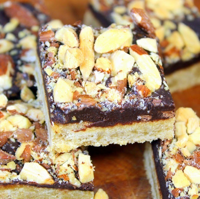 Soft Chewy Toffee Almond Squares - 52 Cookie Recipes and Catering or Church Potluck Desserts