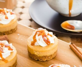 Mini Salted Caramel Pumpkin Cheesecakes