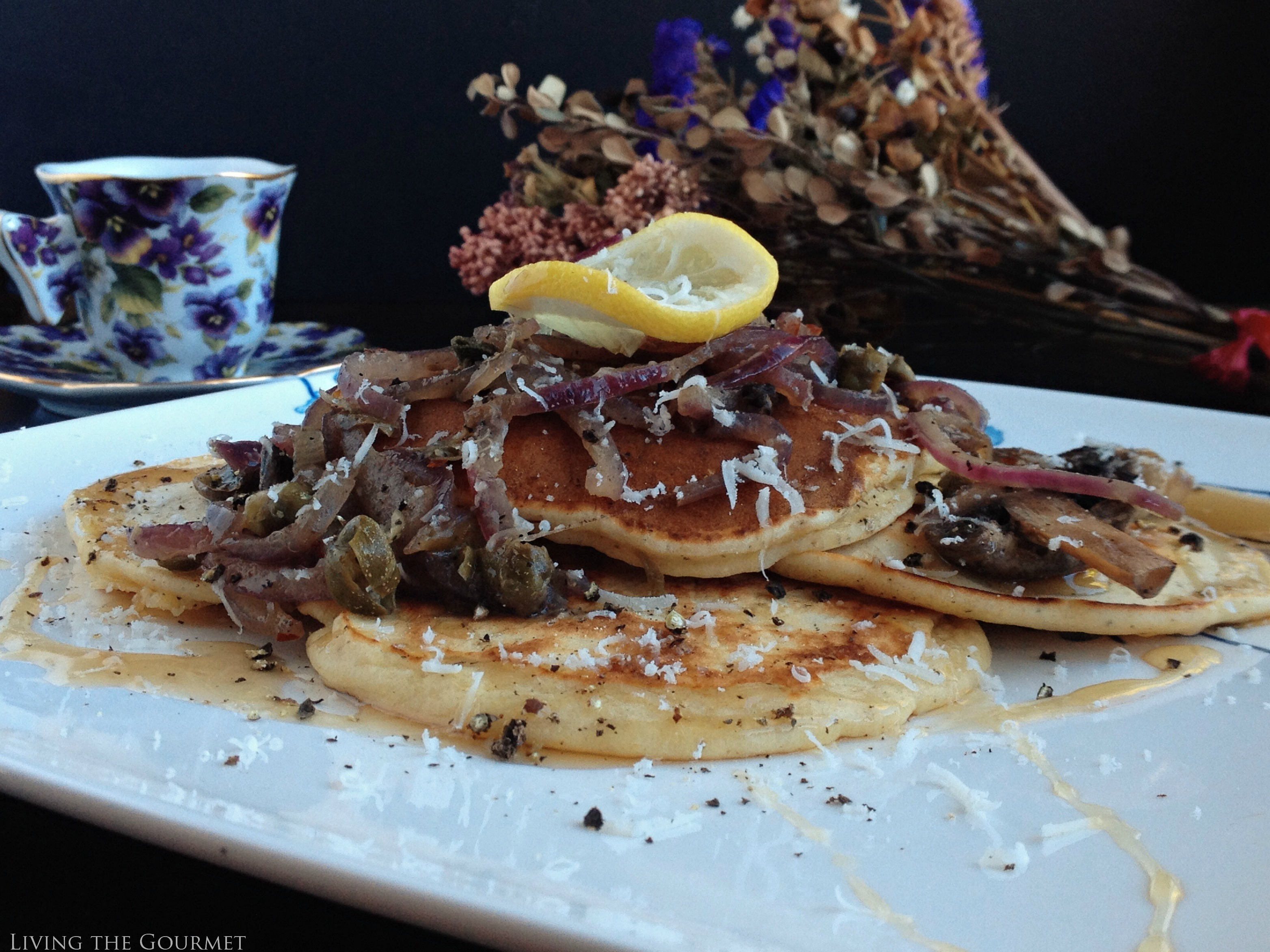 Polenta Pancakes and Sauteed Mushrooms with Caramelized Onions