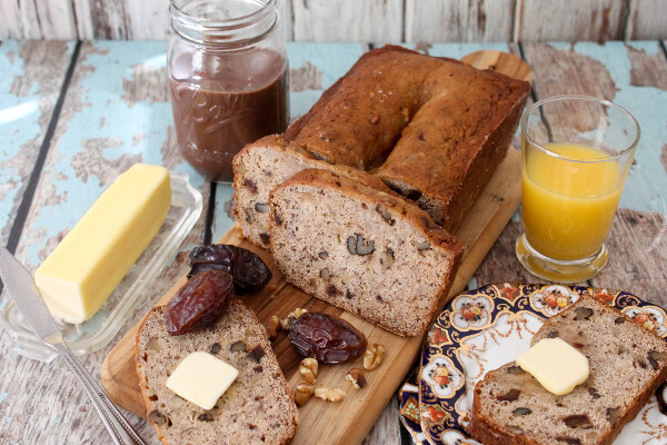 Banana Bread with Walnuts and Dates