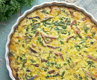 Quinoa Kale Crustless Quiche (with Leek, Shiitake Mushrooms & Sun Dried Tomatoes)