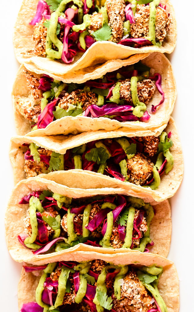 Crispy Cauliflower Tacos with Slaw & Avocado Cream