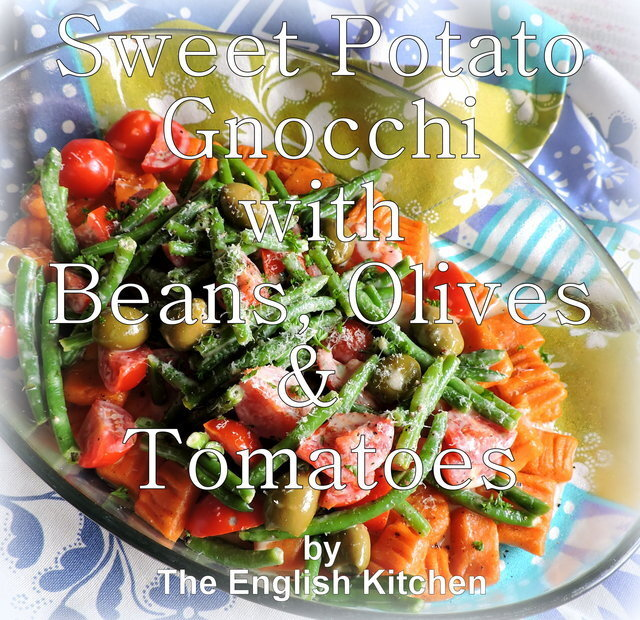 Sweet Potato Gnocci with Beans, Olives & Tomatoes