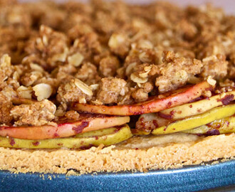 apple pie streusel tart with shortbread crust