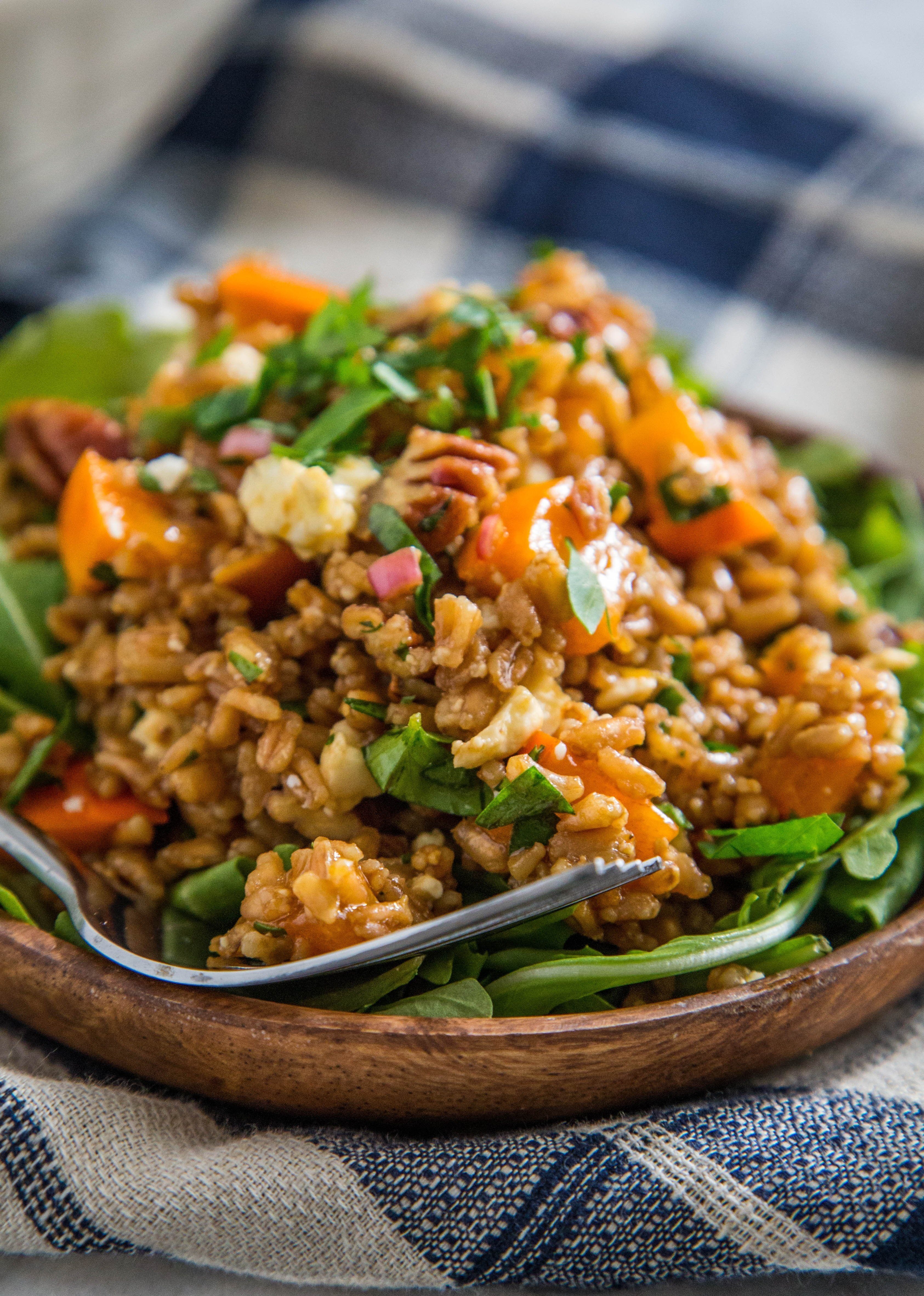 Recipe: Warm Farro Salad with Roasted Squash, Persimmons & Pecans
