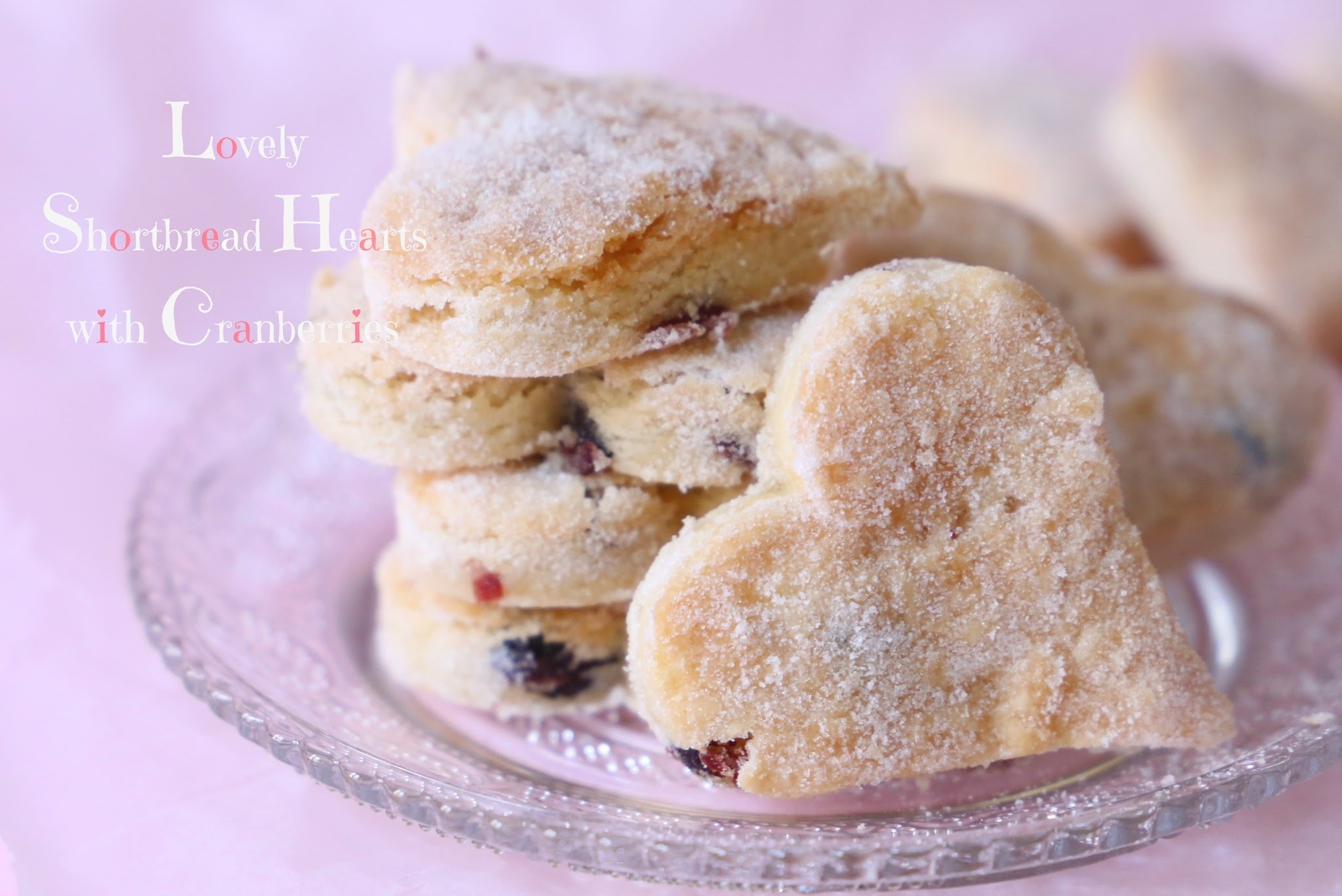 Lovely Shortbread Hearts with Cranberries