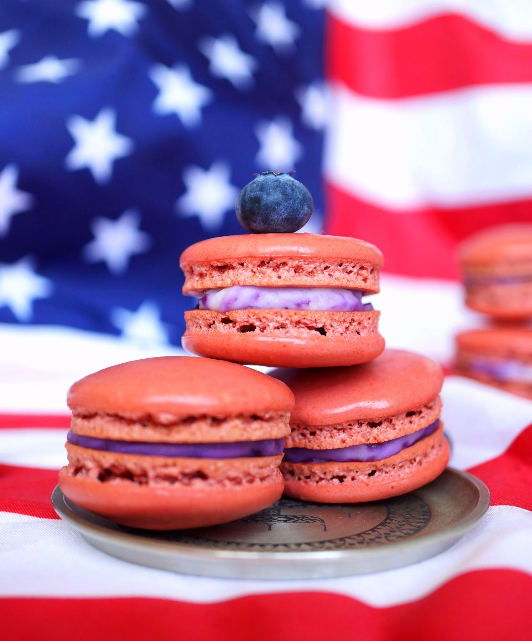 Red Velvet Blueberry Cheesecake Macarons