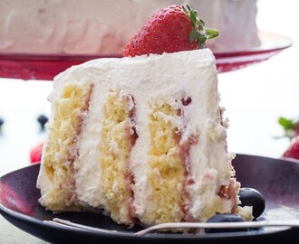 Strawberries and Cream Vertical Layer Cake