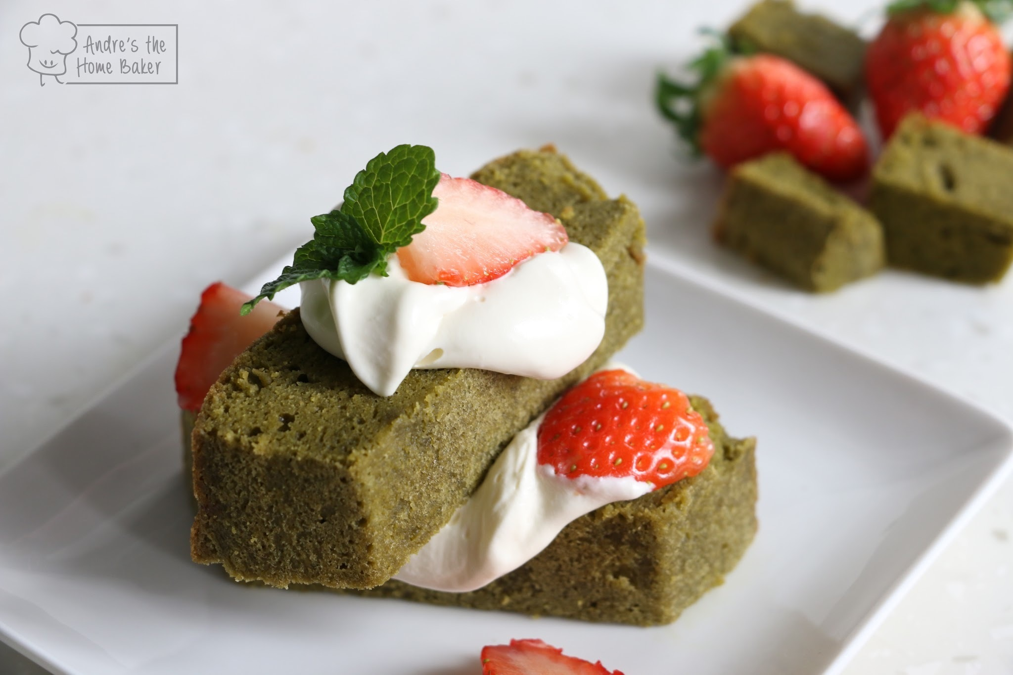♥ Strawberry Matcha Pound Cake Shortcake ♥