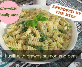 Fusilli with prawns salmon and peas