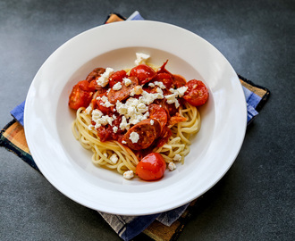 Chorizo, Tomato and Feta Pasta
