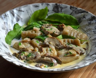 Recipe for Porcini Gnocchi with Creamy Mushroom and Garlic Sauce