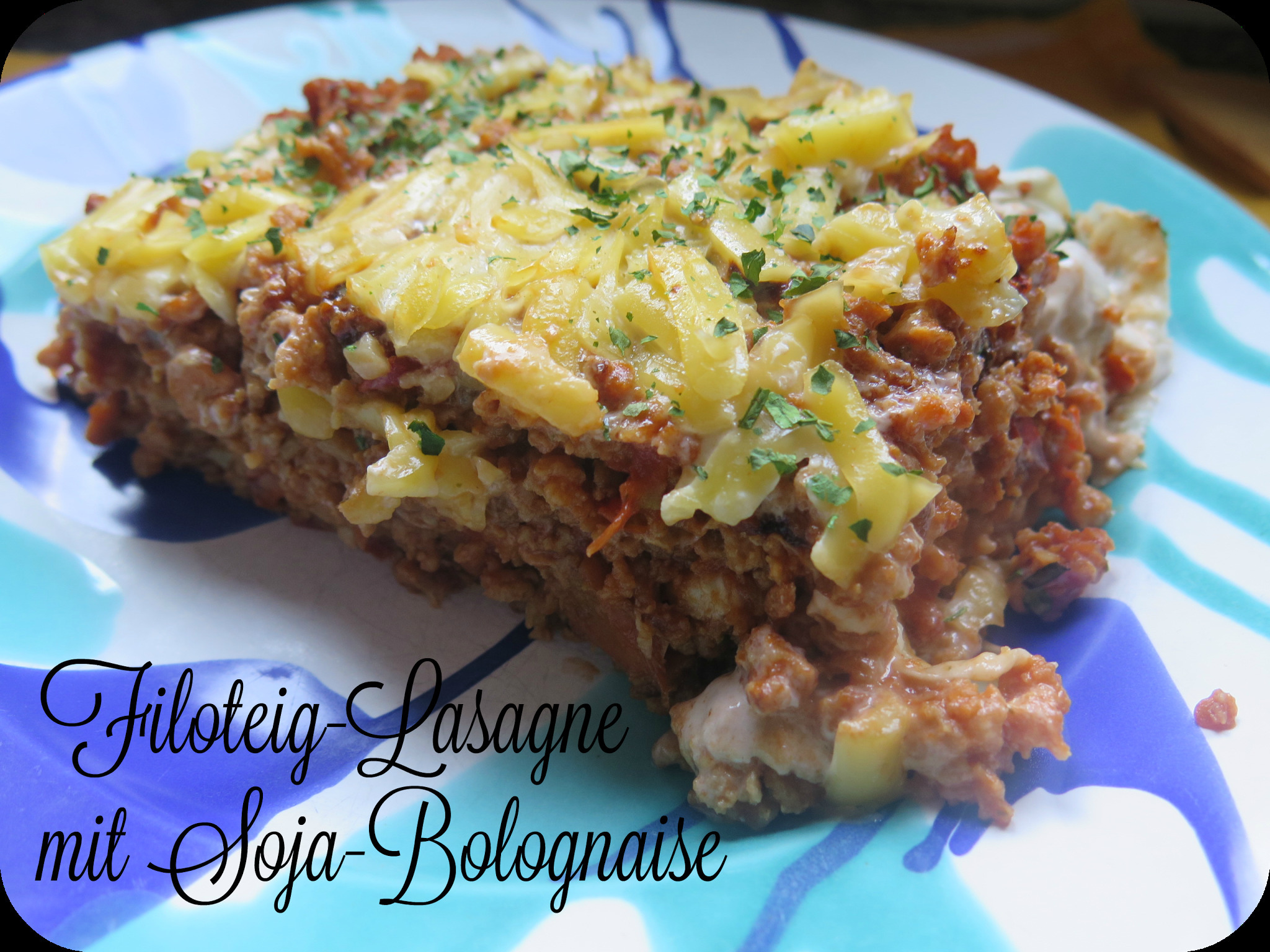 {Use up along} Challenge 6 - Filo-Lasagne mit Soja-Bolognaise