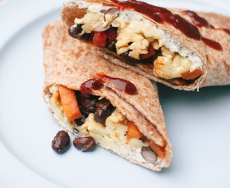 Freezer Breakfast Burritos with Sweet Potato Hash and Black Beans