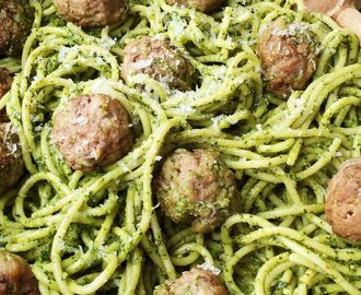 Spaghetti with Kale Pesto and Meatballs